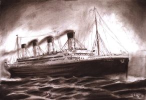 Titanic Charcoal Sepia Study by PauloDuqueFrade