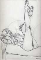 Femme Drawing 3 Pencils by skeetch11