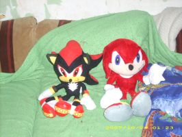 Shadow and Knuckles Plushie by EdenHall