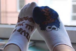 Handmade Cookiemonster Socks by Madlaid