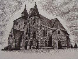 Church Pen and Ink by Sandybelle