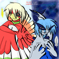 .Lugia+Ho-oh Anthros. by CosmicWings