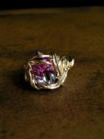 Elven Princess Ring -Pink Lavender Silver 6.25 by LadyPirotessa