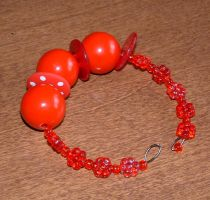 Red Bead and Button Bracelet by MollyD