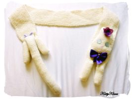 Cream Kitty Cat Scarf by Cateaclysmic