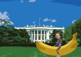 Nicolas Cage riding a banana by bloatedwhalecorpse