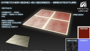Stretcher Bond 45 Degrees - Brick Texture #4 by MatchSignal3D