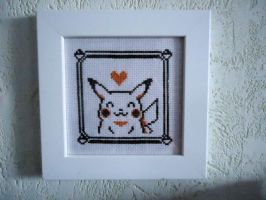 Cross stitch Yellow's Pikachu - framed by Miloceane