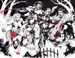 Blade and Wolvie againts Vamps by JesterretseJ