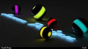 Glowing Text and Spheres .C4D. by cristianfrunza93