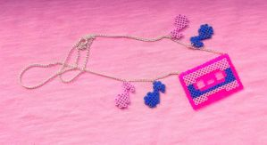 Casette Tape Hama Bead Necklace by obscurepastels