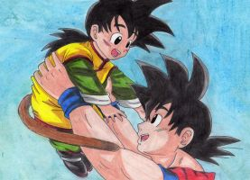 Goku and little Gohan by SanakoNara