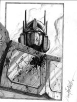 Optimus Prime-bust, pencil by LivioRamondelli