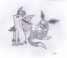 Leafeon and Glazion by PhantomDragonZX