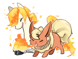 Ponyta and Flareon by Mousu