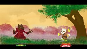 Splinter vs Shifu by momarkey