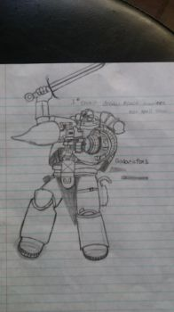 Drawing of a space marine by galaticfox1