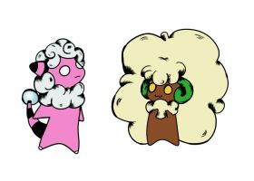 Flaaffy and Whimsicott WIP by Coffin-Rabbit
