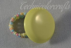 Yellow Beaded Button Ring by technicolorcrafts