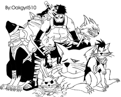Yamato and his cats by Oakgyrl510