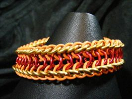 fire theme half dragon back bracelet by BacktoEarthCreations