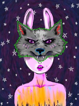 Galactic Wolf Face by DeathOrigami