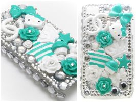 Mint Hello Kitty Decoden iPhone Case by dimeycakes