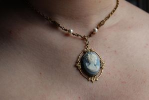 Blue Cameo Necklace Kathrine design by artistiquejewelry