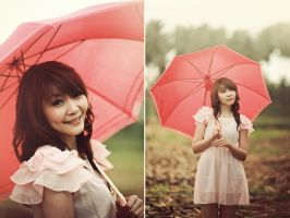 Red Umbrella Girl by bwaworga