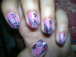 Pink nail art by super5003