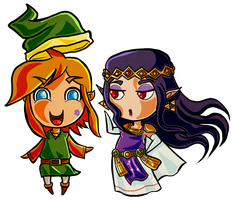 Link and Hilda Chibi by Zeepla