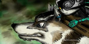 Midna and Wolf Link by Phinnimonster