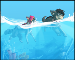 Halfway Underwater (Commission) by Panai