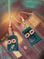 Cute Paper Quilled Tardis Earrings by cunningcatcrafts
