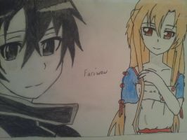 Asuna and Kirito by fariwow