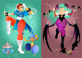 Morrigan and Chun Li + Pokemon by Brogan-Coral