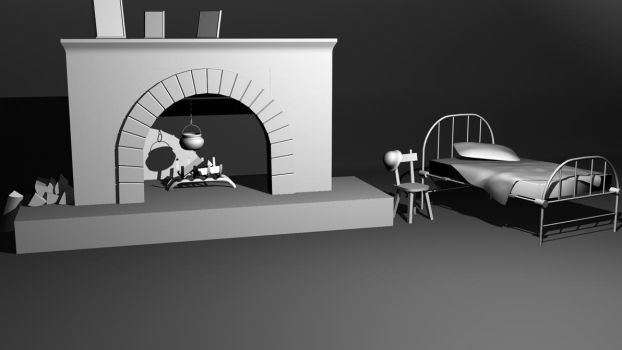 Fireplace and bed by ShangyneX