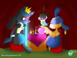 Lucario, Chatot and Medicham used role play... by Redpadna