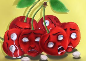 Scared cherries by Food-and-art