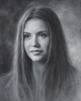 Nina Dobrev Drawing by Dry Brush by Drawing-Portraits