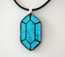 LoZ Blue Rupee Fused Glass by FusedElegance