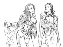 lady thor and loki by denz999
