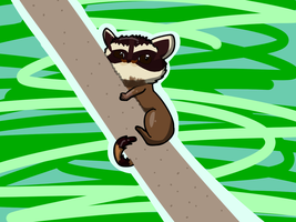 Raccoon with a mustache stalks you on a weird tree by FroggyRocki