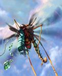 Scorpionfly riding a caterpiller-clutching-spider by m0zch0ps