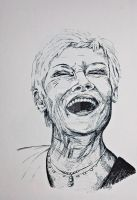 Judy Dench Ink Drawing by LorraineKelly