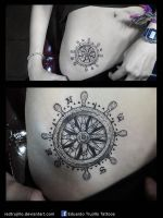 rudder tattoo - rose of the winds tattoo by redtrujillo