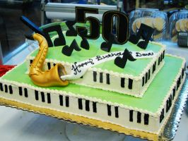 Saxophone and Piano Cake by Erisana