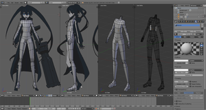 Low Poly Black Rock Shooter WIP by Kruskebunken