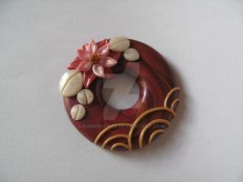 Red donut fimo pendant nymphea by kamen-kage