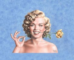 Marilyn with a yellow rose by Pablito-Matito